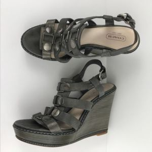 Coach Sandals Wedge Strappy Leather Mallorie